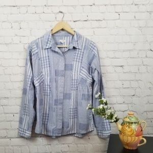 Odille Blue & White Patchwork Button Down Top 8